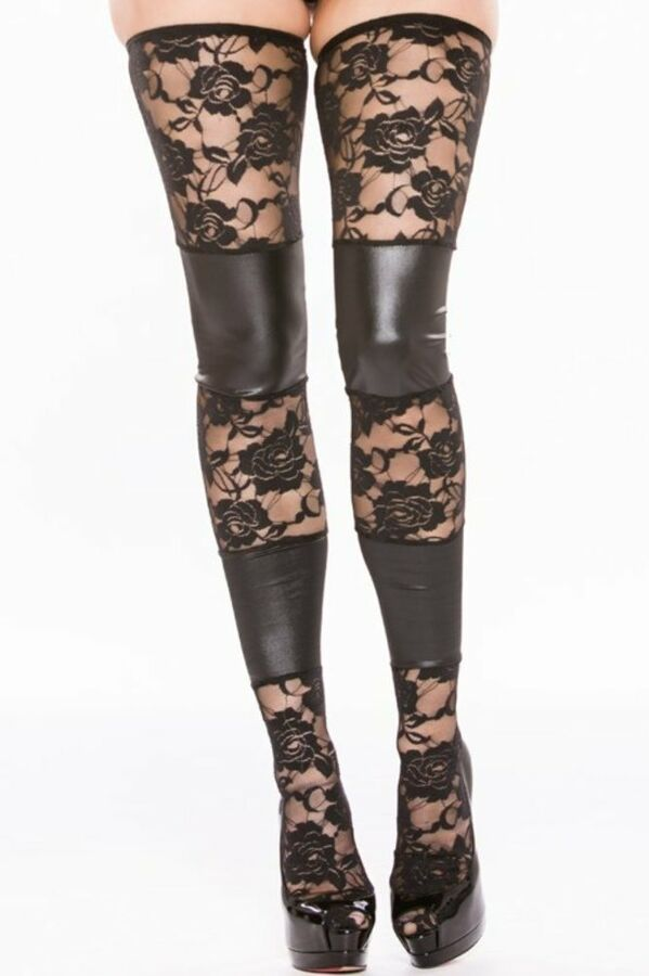 9b81132da Sheer Lace Wet Look Paneled Tights Elasticized Stay-Up Thigh High Hosiery  Paneled Tights Wet
