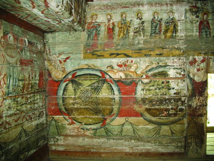 Pereţii bisericii Dragomiresti, Maramures sunt pictaţi în interior de meşteri populari, care au respectat în altar şi naos canoanele bisericeşti, dând frâu liber imaginaţiei în pronaos, ceea ce reflectă credinţele poporului legate de fericirea din rai şi chinurile din iad, zugrăvite în scena Judecăţii de Apoi.