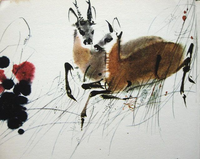 illustration by mirko hanak via a billion tastes and tunes #art #illustration #watercolor #animals #deer #bambi