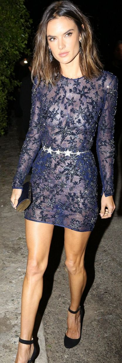 Who made Alessandra Ambrosio's blue lace dress?