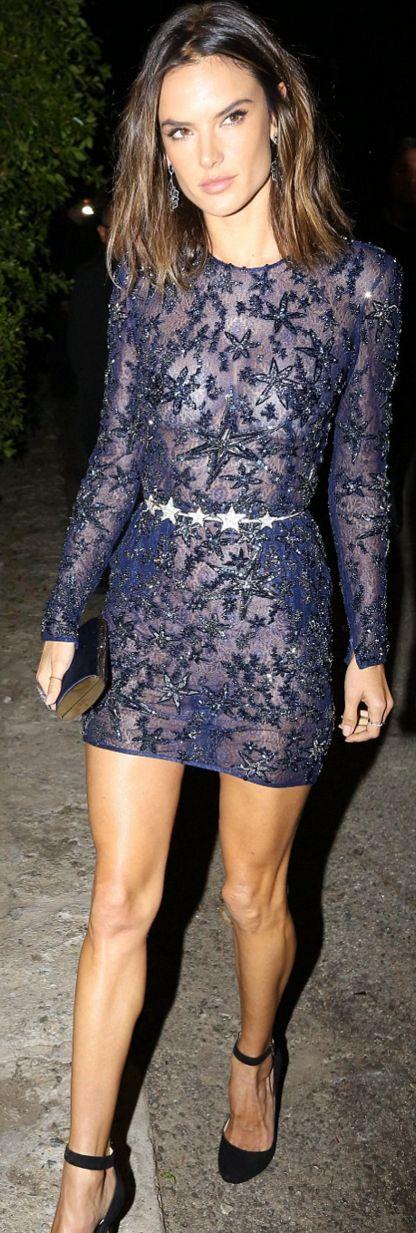 Who made Alessandra Ambrosio's blue lace dress?