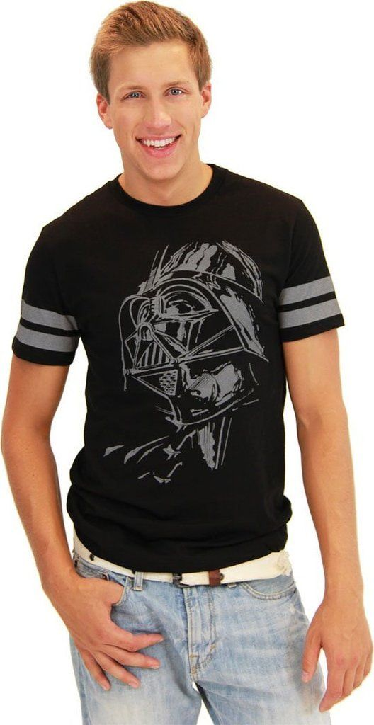 Embrace the dark side when you wear this cool, 1980s retro-inspired Darth Vader Star Wars t-shirt. This Star Wars retro t-shirt will make you the envy of all your buddies when you show up wearing it to meet them at your next comic con or Star Wars movie convention.  Featuring Darth Vader's face in a ponderous moment, this Star Wars Darth Vader tee will have all your friends breathing heavy with excitement wishing that they owned such a cool Star Wars tee.