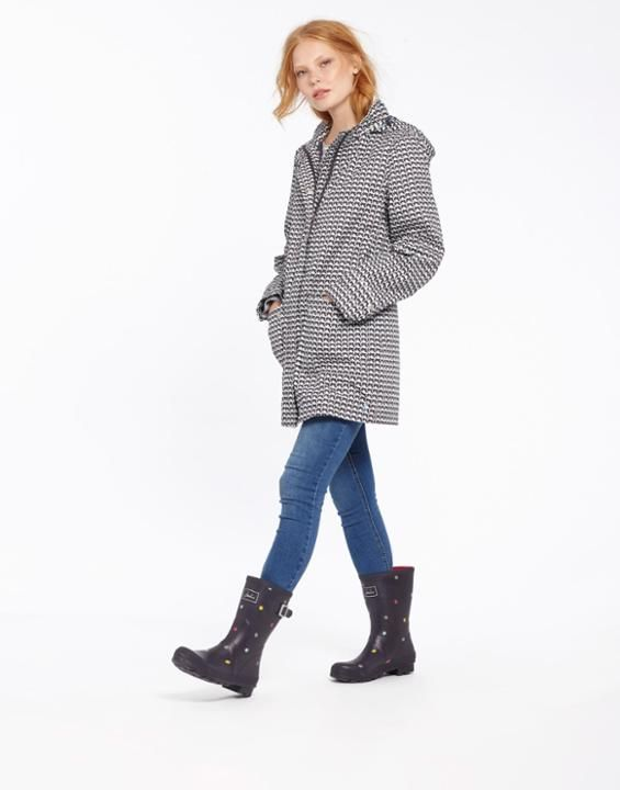 Joules UK HAVEN Womens Waterproof Jacket Grey Swan Geo. love the stripes, love the long length.. great for when the rain pours as you wait for the little monsters!