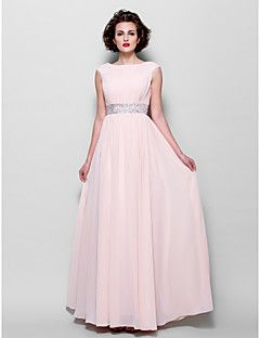 A-line Plus Size / Petite Mother of the Bride Dress Floor-length Short Sleeve Chiffon with Beading / Draping / Sash / Ribbon – USD $ 109.99