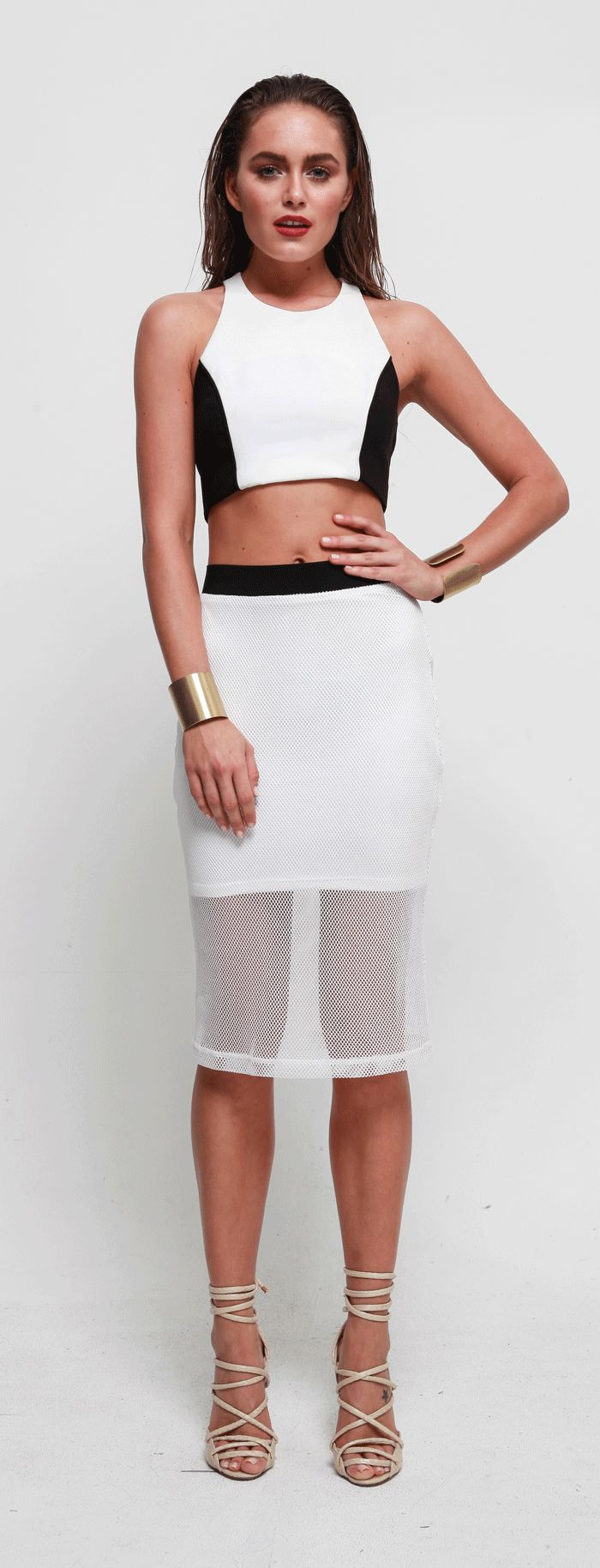 Bebe Sydney - Maze Pencil Skirt Ice