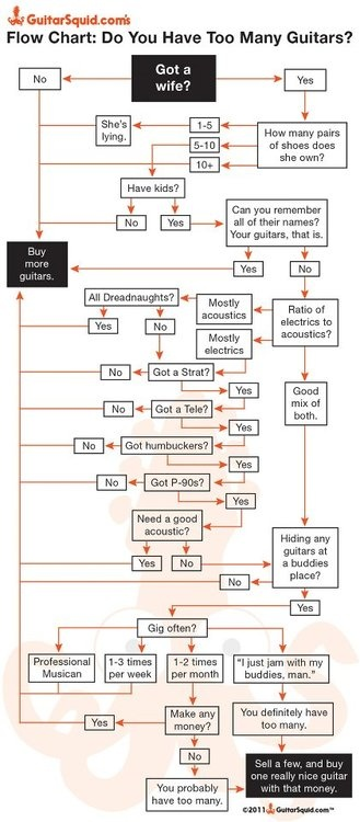 Need help facing up to one of the most difficult decisions ever?  Why not try GuitarSquid's handy flowchart (changing 'Wife' to 'Husband' and 'Shoes' to 'Golf Clubs' where applicable of course!)