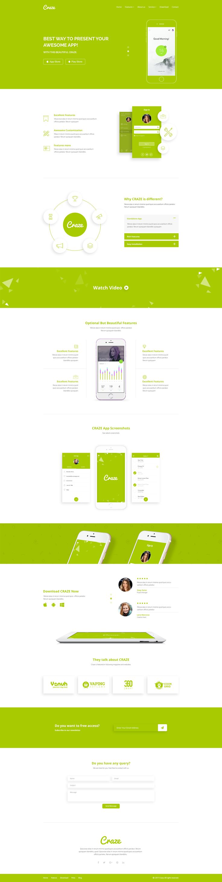 Craze - App Landing PSD Template by CodePassenger | ThemeForest
