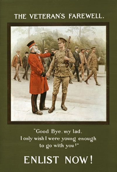 British Veteran's Farewell Enlist Army War Poster WW1