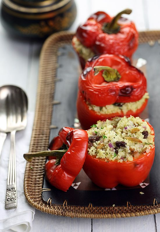 Roasted whole red peppers stuffed with  Moroccan spiced couscous studded with raisins and toasted almonds.