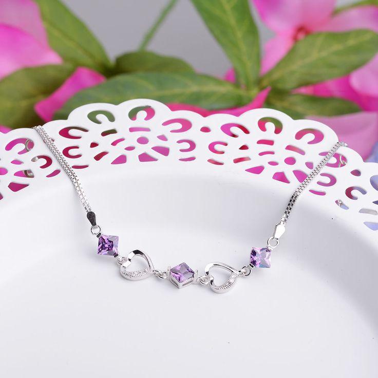 Sterling Silver Bracelets For Women Purple Rhombus Wedding Bracelets