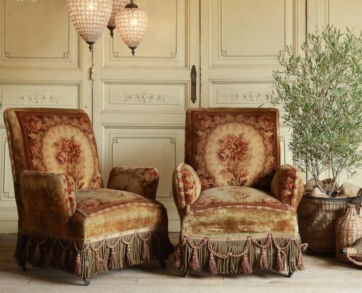 Antique Napoleonic Armchairs Original Velvet Wool