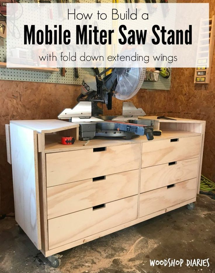 How to Build Your Own DIY Mobile Miter Saw Stand With Fold Down Extension Wings and Plenty of Storage #mitersaw