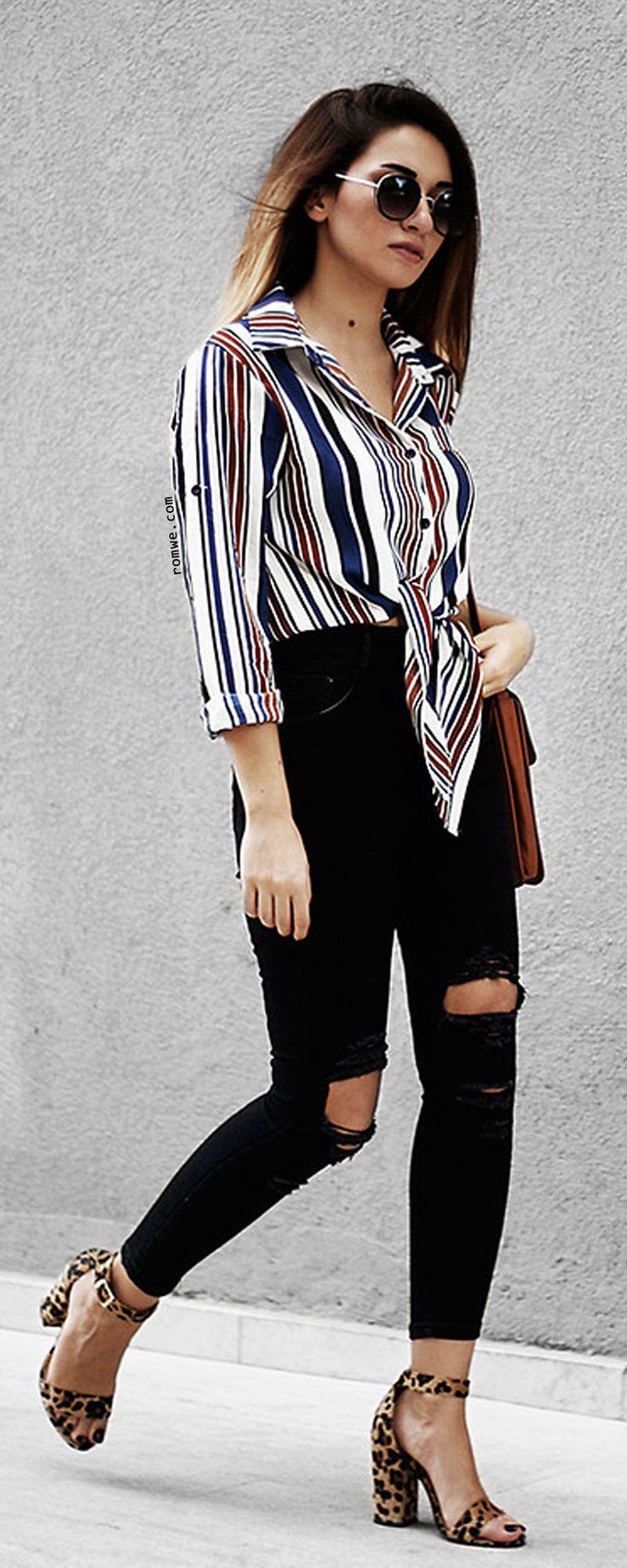 Multicolor Vertical Striped Tie Front Blouse