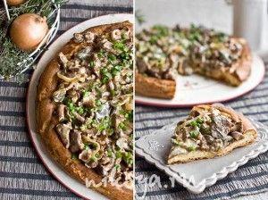 Сырный пирог с лесными грибами