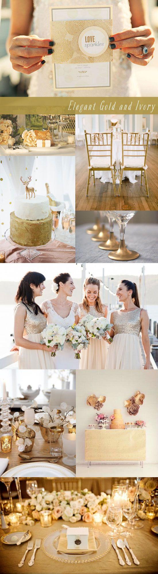 Wedding Inspiration Board Elegant Gold and Ivory Theme ...