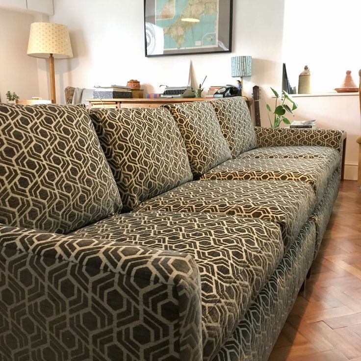 A Habitat sofa re-cover in Warwickfabrics Tube Pewter - a fine geometric print