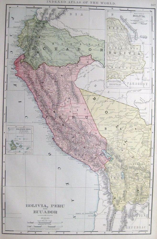1902 Antique BOLIVIA Map PERU Map ECUADOR Map RARE Poster Size Map - best of world map japan ecuador