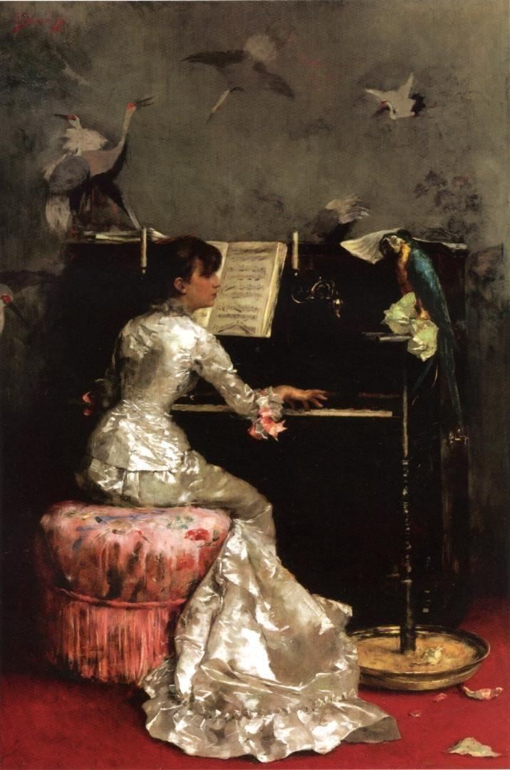 Julius LeBlanc Stewart, Young Woman at a Piano, 1878