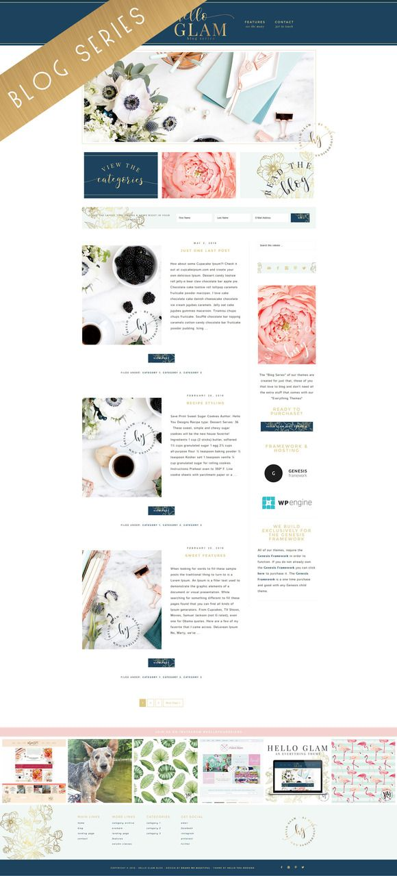 Blog Series Wordpress Genesis Theme by Hello You Designs on @creativemarket