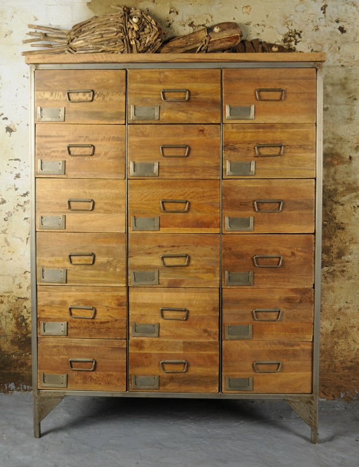 For some seriously stylish urban loft living look no further than our new range of industrial furniture. These laboratory style pieces set the backdrop for modern interiors styling and add a touch of industrial style to your home.  This absolutely stunning apothecary chest has 18 drawers each with a label holder for you to add your own labels (though it looks great without them) it's narrow enough to fit in a hallway but makes a big statement in the lounge, kitchen or study. Made from mango…