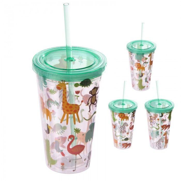 CUP05 - Bicchiere in Plastica con Tappo e Cannuccia - Animali dello Zoo - #wildlife #zoo #puckator