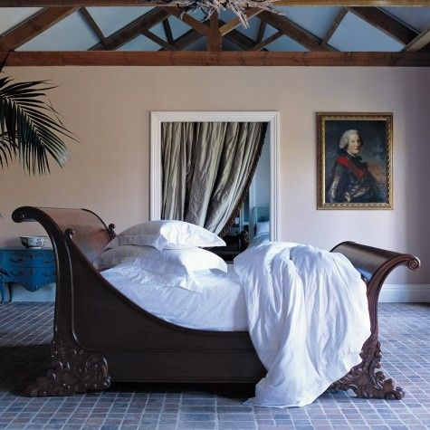 Brodsworth Wooden Sleigh Bed | Hand Carved Wooden Beds | AND SO TO BED