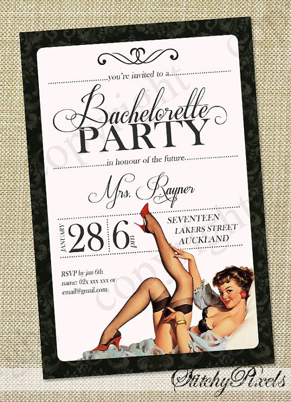 Vintage Bachelorette / hens night Invitations - Cutomised and printable PDF Invites on Etsy, $16.36 AUD