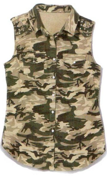 Camouflage Sleeveless Shirt by Alibi. As seen in March issue of Shop, now: $34.95 #camouflage #shirt