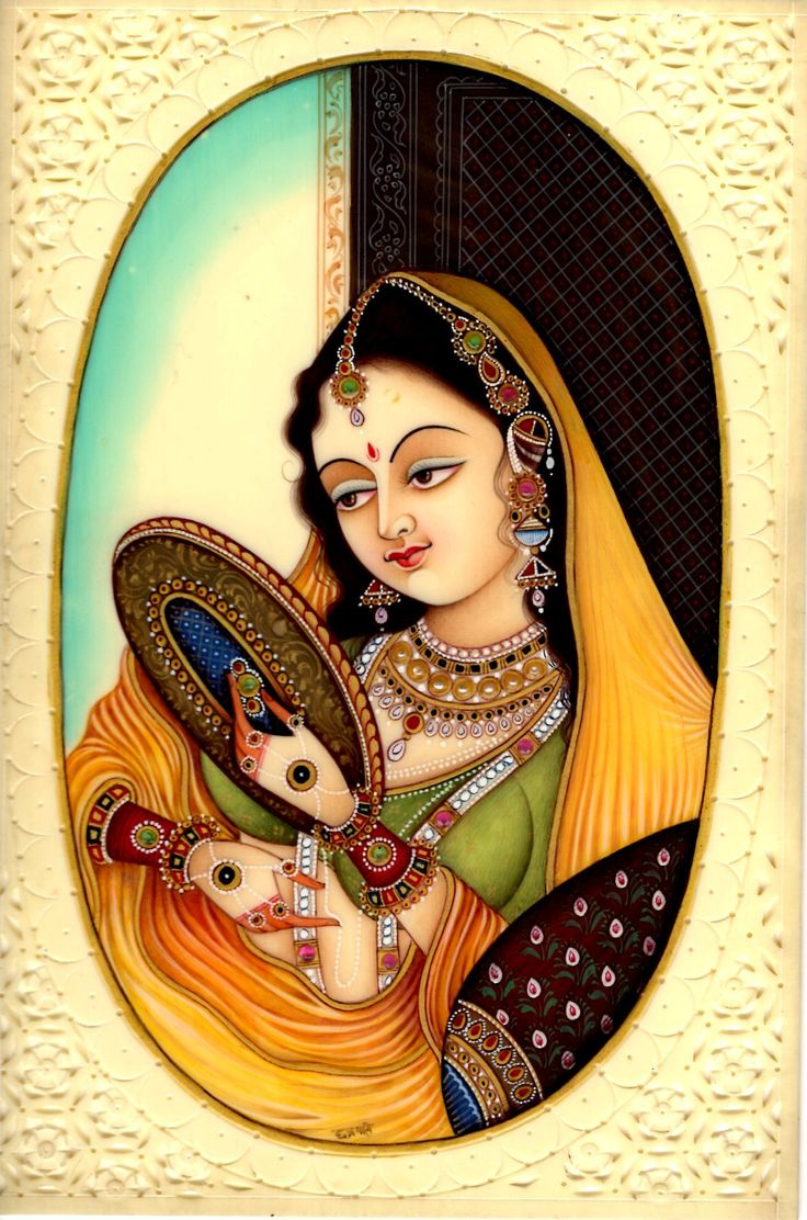 Indian Miniature Painting Mughal Princess Handmade Watercolor Mogul Portrait Art