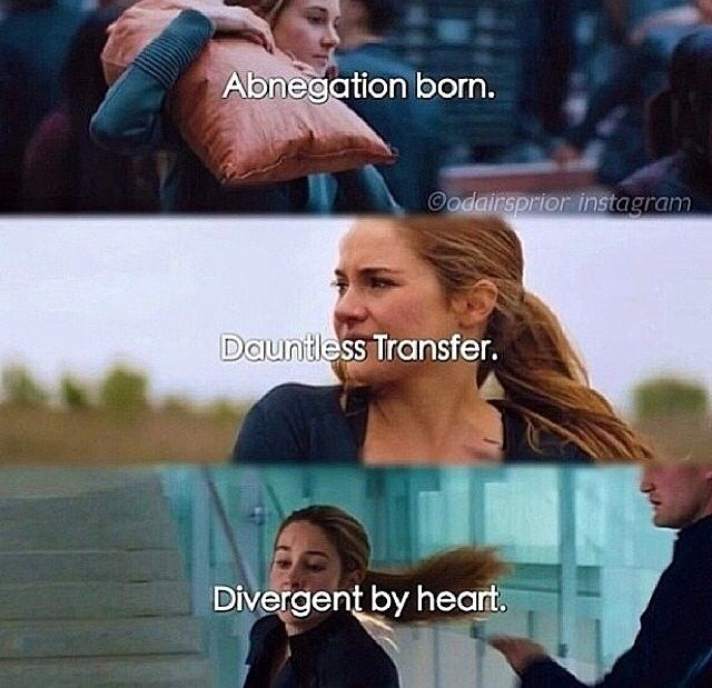 How many times have you watched the divergent film? And If you could hang out with anyone in the divergent series except Tris and Four. Who would you like to meet? Plz comment!!!!!