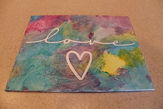 This could be fun to tape off with sticker hearts on mini canvases, and then let them paint.