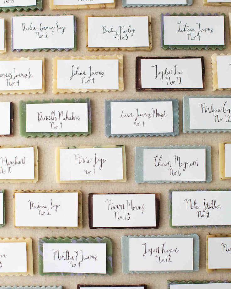 This Chic, Modern Wedding Took Place in a Los Angeles Loft | Martha Stewart Weddings - Hand-cut bars of soap doubled as wedding favors and seating assignments, thanks to calligraphed cards by Nicole Miyuki.