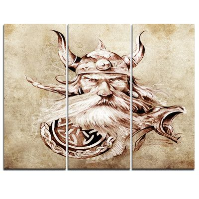 DesignArt Viking Warrior Tattoo Sketch - 3 Piece Graphic Art on Wrapped Canvas Set