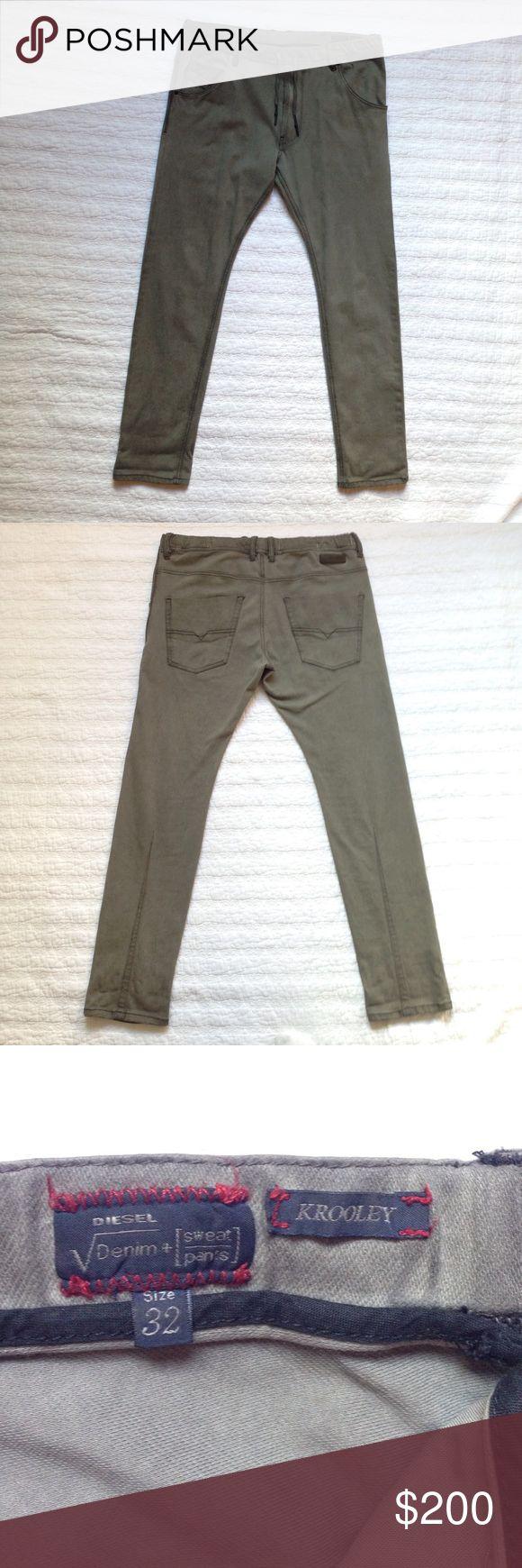 DIESEL DIESEL VDENIM + SWEAT-PANTS. KROOLEY. SIZE 32. NEW W/O TAGS. MADE IN ITALY Diesel Pants Sweatpants & Joggers