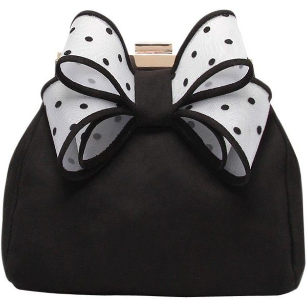 Miss KG Tara Bow Clutch Bag, Black/White found on Polyvore featuring bags, handbags, clutches, purses, evening purse, chain handle handbags, clasp purse, bow handbag and special occasion clutches