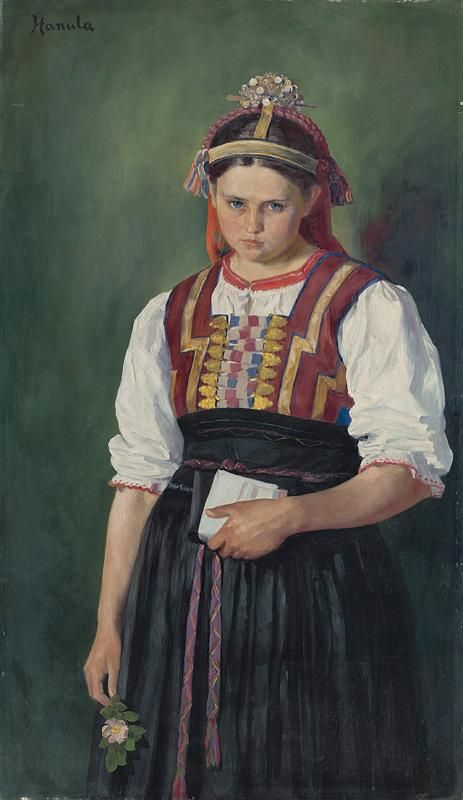 Slovak young woman in traditional costume Slovak painter Jozef Hanula Web umenia | Jozef Hanula - Za frajerom