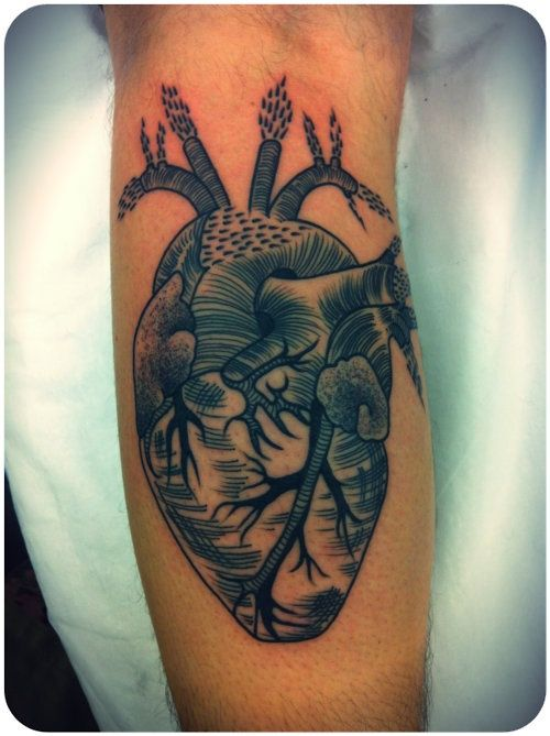Anatomical Heart Tattoo Black And Grey So cool. anatomical heart
