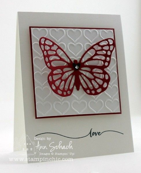 Stampin' Up! ... handmade Valentine card ... clean and simple layout ... white with red mat and die cut ... hearts outline embossing folder texture ... red lacy butterfly die cut ... great card!