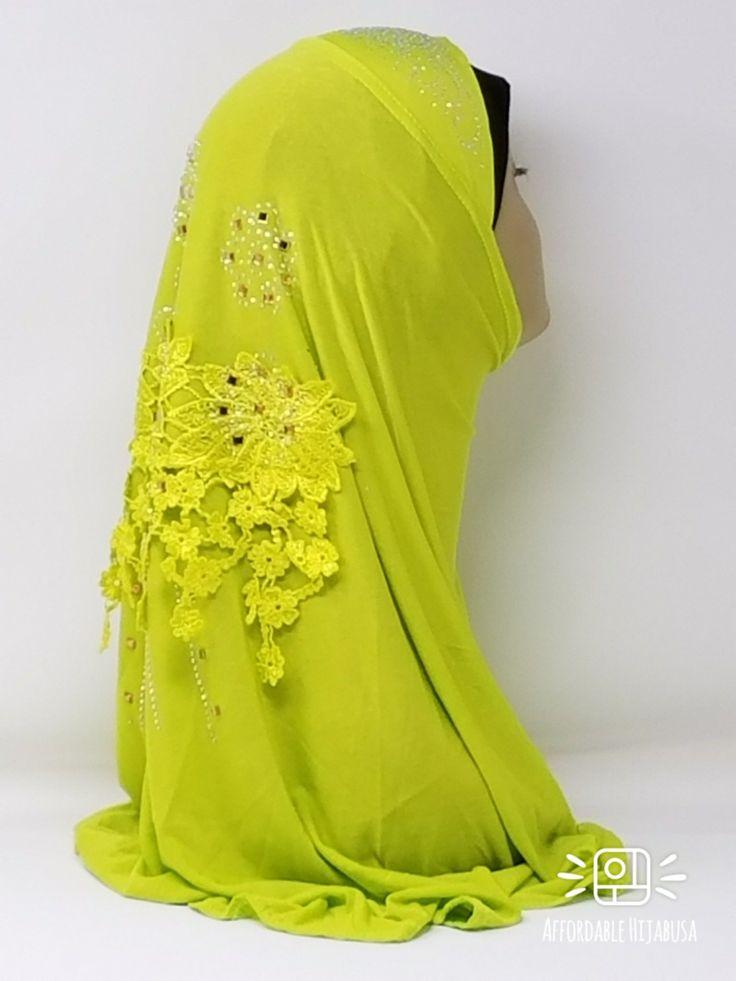 Amour Al Amira Hijab $24.99 Amour Al Amira Hijab with beautiful Lace Applique And Rhinestone Chartreuse 1pchttps://store13211292.ecwid.com/#!/Amour-Al-Amira-Hijab/p/101697919