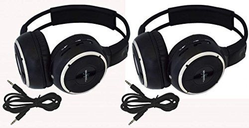 """Pair of Two Channel Folding Adjustable Universal Rear Entertainment System Infrared Headphones With 2 Additional 48"""" 3.5mm Auxiliary Cords Wireless IR DVD Player Head Phones for in Car TV Video Audio"""