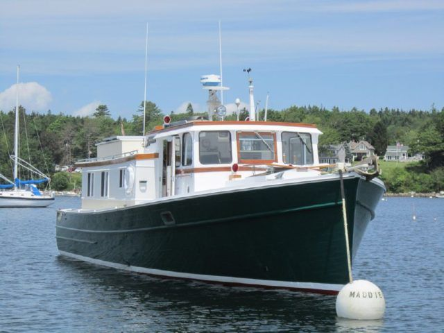 Maddie-Jo is a 43′ single screw cruiser-trawler with wheel house built in 1968 at Penobscot Boat Works, Inc of Rockport, Maine. A classic down east cruiser constructed of 1 and 1/4″ car…