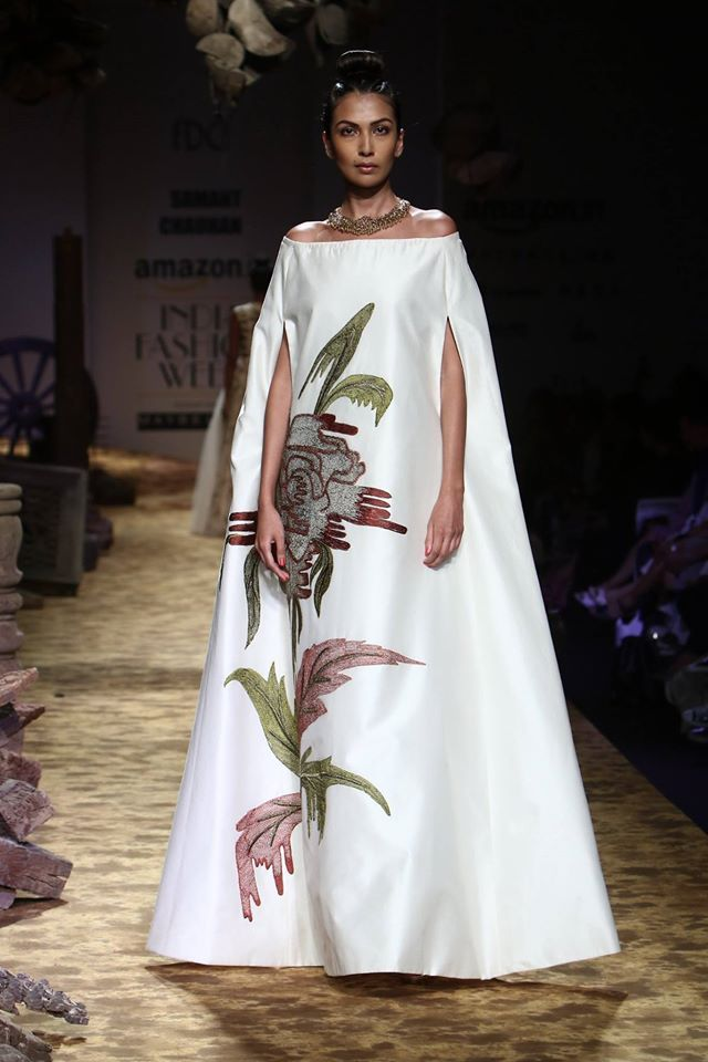 indian-gown-design-floral-print-white-poncho-samant-chauhan-off-shoulder-spring-summer-2017