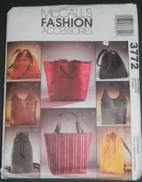 McCalls pattern 3772 Handbag / Purse 5 Lined styles Unused 2002