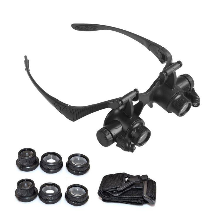Watch Repair Magnifier 10X 15X 20X 25X LED Double Eye Jeweler Watch Repair Magnifier Glasses Loupe