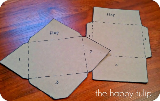 Envelope templates from cereal boxes