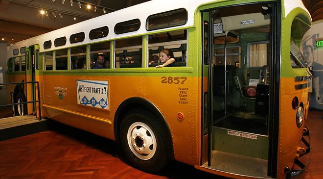 Side view of Rosa Parks bus inside Henry Ford Museum FunINTheD