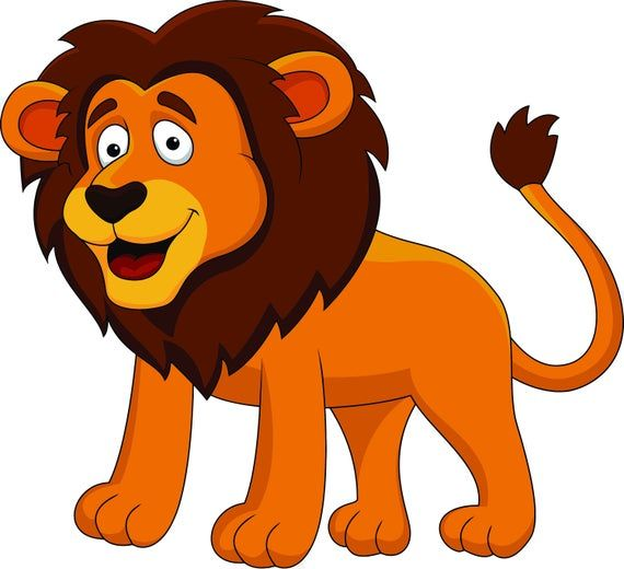 Big Lion Lions King Of The Jungle Zoo Safari Animals Cartoon Design Wall Decals For Bedroom Bathroom Lion Pictures Funny Lion Cartoon Animals