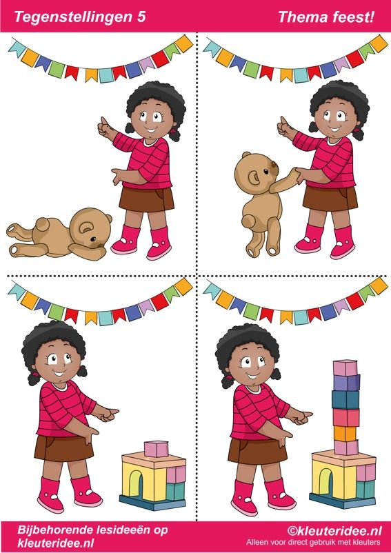 Tegenstellingen deel 5, thema feest voor kleuters, juf Petra van kleuteridee, bij behorende les op de website, preschool opposites, free printable