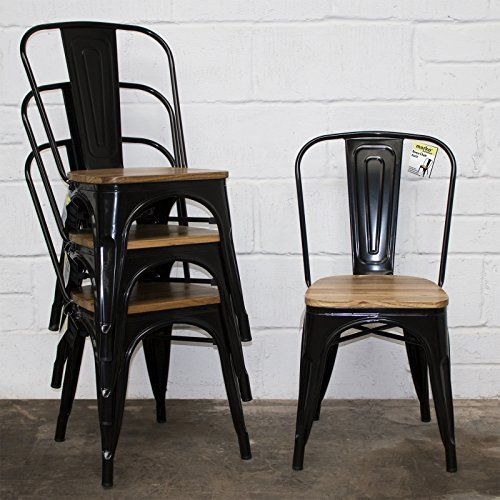 Marko Furniture Set Of 4 Black Industrial Dining Chair Kitchen Bistro Cafe Vintage Wood Seat Metal Dining Chairs Industrial Dining Chairs Cafe Chairs