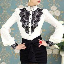 Elegante Patchwork mulheres Blusas / Desigual Ruffled Vintage inverno camiseta / marca mulheres Blusas(China (Mainland))